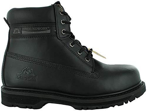 Botas de seguridad para hombre Groundwork SK21, con punta de acero y cordones, color Negro, talla 40 EU