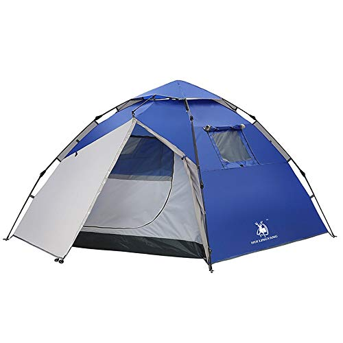 Camping Tent Family Camping Automatic Instant Pop Up Waterproof Oxford Material Groups Camp Beach Tents Portable Waterproof Tent (Color : Blue, Size : One Size)