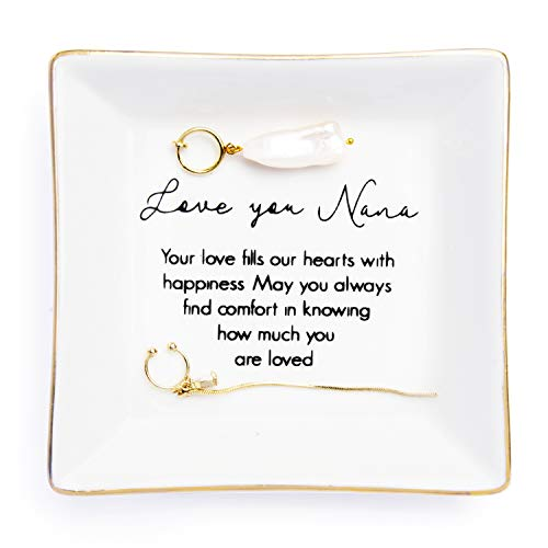 """Nana Gift"""" Love You Nana Your Love Fills Our Hearts With Happiness.May You Always Find Comfort In Knowing How Much You Are Loved """" Trinket Dish Design for Nana Grandma Mother's Day Birthday Gift"""
