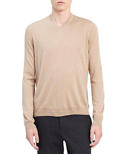 Calvin Klein Men's Merino Solid V-Neck Sweater, Travertine Tan, Large