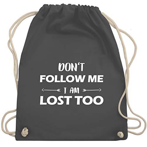 Shirtracer Festival Turnbeutel - Don't follow me I am lost too - Pfeile - Unisize - Dunkelgrau - turnbeutel schwarz bedruckt - WM110 - Turnbeutel und Stoffbeutel aus Baumwolle