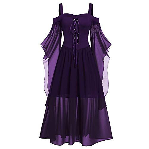 Aiserkly Damen Halloween Kleid Plus Size Cold Shoulder Gothic Kleid mit Schmetterlingsärmeln Hexenkostüm Mittelalter Renaissance Kostüm Cosplay Karneval Fasching Dunkelviolett 5XL