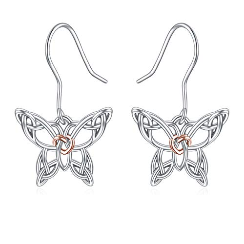 POPKIMI Celtic Butterfly Earrings for Women Jewelry Sterling Silver Butterfly Lover Gifts