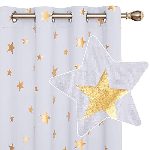 Deconovo Cortinas Dormitorio Moderno para Ventanas de Habitación Juvenil Diseño Estrellas Estampados Dorados con Ojales 2 Paneles 140 x 175 cm Gris Blanco