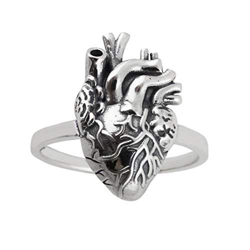 FashionJunkie4Life Anatomical Heart Ring - 925 Sterling Silver, Sizes 6-10, Lifelike Real Heart (9)