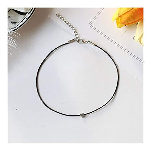 FKJSP De Cinco Puntas Cera Fina línea Simple Collar de la Estrella Amor Cadena de la clavícula Bloque Cuadrado versátil Cuello de la Correa (Metal Color : Love)