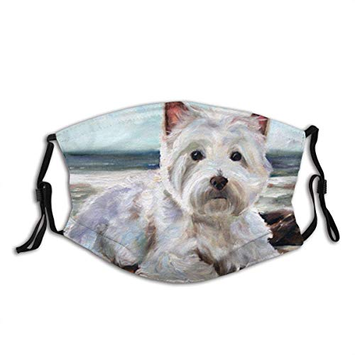 vipsung Westie West Highland Terrier Dog Printed Reusable & Washable Mouth Covering with 2 Filter Breathable for Men Women & Teenage Ourdoor Indoor