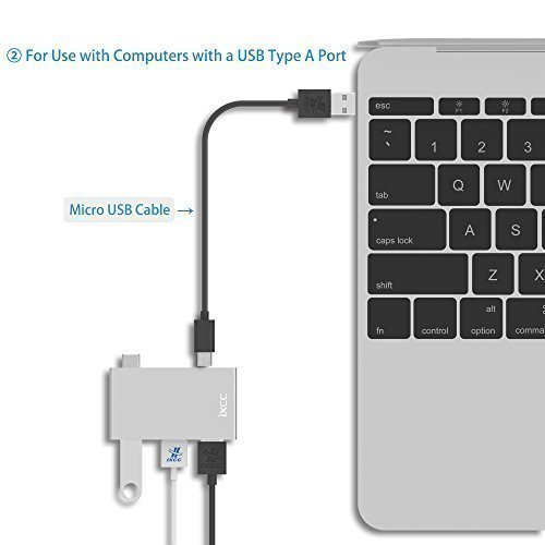[2017 New] USB C to USB A Data Hub, iXCC Ultra Mini Multi-Port USB 3.0 / 2.0 Aluminum Hub, USB Type C to USB 3.0 Adapter for New MacBook, Google Chromebook Pixel and Other Type C Devices - Silver