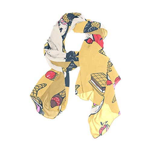 Imprimir City Head Wraps para mujeres Niñas Damas Favor Pañuelo cuadrado 90x180 CM Bufanda chal Ligero Pingüinos lindos Postre Pastel Helado