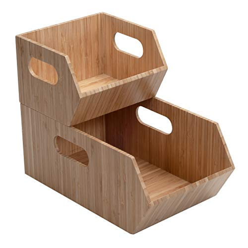 Bamboo Storage Bins for Pantry & Kitchen Cabinet Organizer Multi-Purpose 2 PC Stackable Set for Canned Goods, Vegetables, Pouches, Boxed Meals & more
