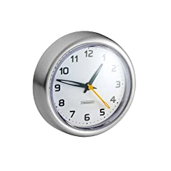 iDesign Forma Suction Clock for Tile, Mirrors in Master, Guest, Kid's Bathroom, Bedroom, College Dorm Room, 3.8 x 3.8 x 1.25 - Brushed Stainless Steel