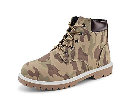JABASIC Kids Lace Up Work Boots Boys Casual Ankle Boots Waterproof Snow Boots (2.5,Camouflage Tan)