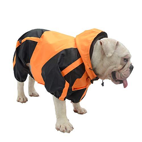 Lovelonglong American Bully Pitbull Dog Hooded Raincoat, Bulldog Rain Jacket Poncho Waterproof Clothes with Hood Breathable 4 Feet Four Legs Rain Coats for Pugs English French Bulldog Orange B-S