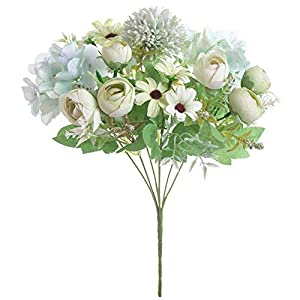 Artificial Flower Simulation Fake Plants Floral Decorative Photograph Prop Party Home Office Decor White Green