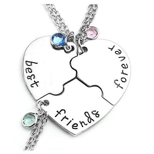 Jovivi 3pcs Best Friend Forever Necklaces Silver Heart Puzzle BBF Friendship Pendant Necklace Jewelry Sets