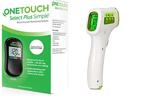 OneTouch Select Plus Simple Glucometer (Free 10 Strips) with Jziki Jzk-601 Non-Contact Medical Infrared Forehead Thermometer (Multicolor)