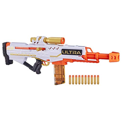 NERF Ultra Pharaoh Blaster com detalhes dourados premium, clipe de 10 dardos, 10 ultra dardos, ação parafusada, compatível apenas Ultra Darts