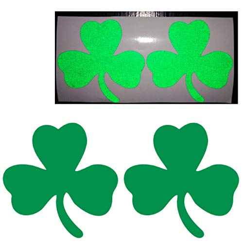CUSHYSTORE 2.5' Clover 3-Leaf Shamrock Irish Flag Green Reflective Decals Vinyl Sticker High Visibility for Hardhat Bike Car Laptop, 2 Packs