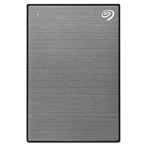 Seagate Backup Plus Slim, 1 TB, Disco duro externo portátil, HDD, Gris Espacial, USB 3.0 para PC y Mac, 1 año de suscripción a Mylio Create, 2 meses de suscripción a Adobe CC Photography (STHN1000405)