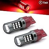 brakelight strobe module - Syneticusa 7443 Red LED Stop Brake Flash Strobe Rear Alert Safety Warning 33-LED Light Bulbs