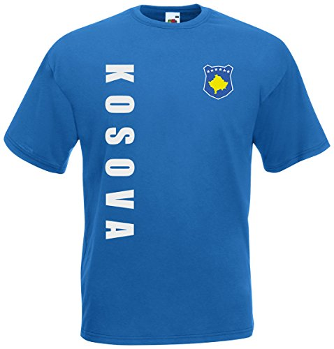 Kosovo Kosova EM-2020 T-Shirt Fanshirt Wunschname Nummer Royalblau S