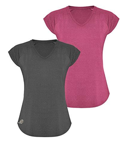 GO HEAVY Damen 2er-Pack Fitness Funktions Sport T-Shirt Laufshirt Kurzarm Schnelltrocknend | Grau/Rosa S