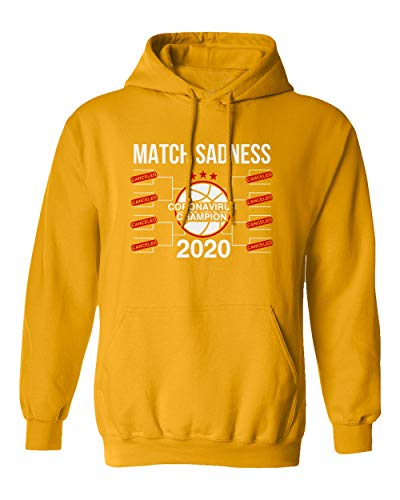 SMARTZONE Basketball Coronavirus Champ March Sadness 2020 Madness Boys Girls Youth Hooded Sweatshirt (Gold, Youth Large)