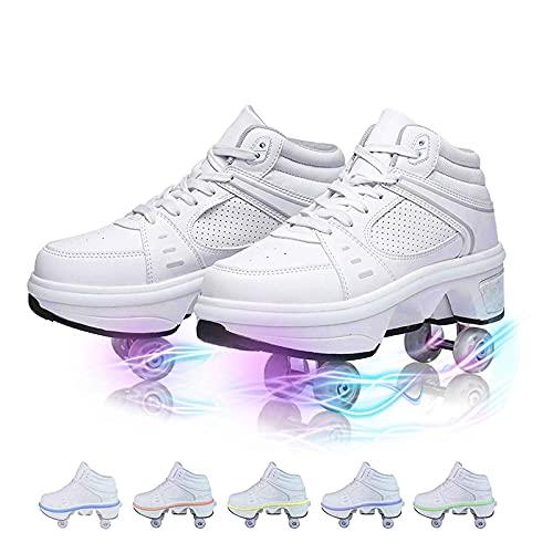TAOXUE Patines de Ruedas Retráctiles para Adultos y Niños Deformación LED Zapatos de Polea Deportes Al Aire Libre Zapatos de Parkour