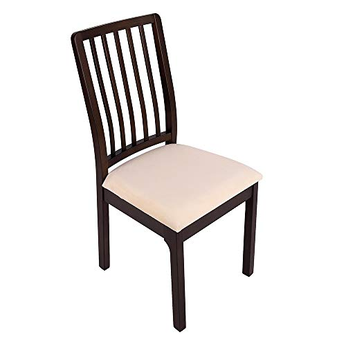 Soft Velvet Stretch Fitted Dining Chair Seat Covers Removable Washable AntiDust Dining Room Upholstered Chair Seat Cushion Cover Kitchen Chair Protector Slipcovers with Ties  Set of 4 Light Beige