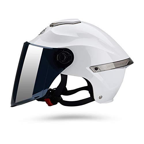 Galatée Casco de motocicleta con visera, adecuado para ciclomotores, scooters, cruceros, pase la prueba de colisión para cumplir con la seguridad vial(Blanco, Lente marrón) 🔥