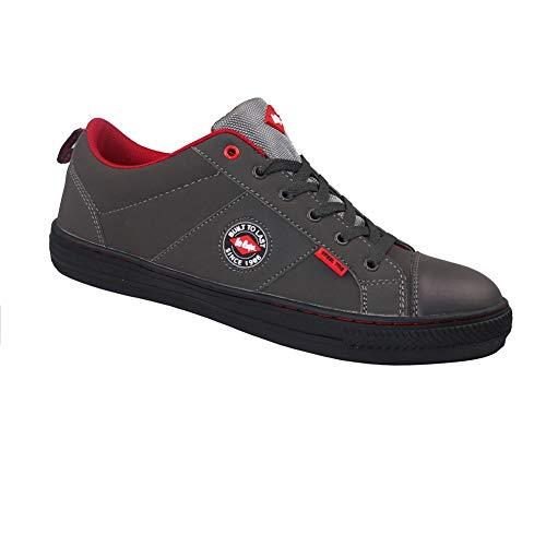 Lee Cooper Workwear LCSHOE054ZU - Scarponcini antinfortunistici da uomo e donna, unisex, in pelle nabuk, stile retrò, scarpe da baseball, taglia 43, colore grigio