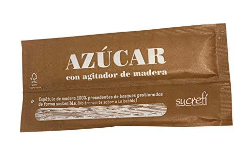 ESSENZIA - Azúcar en sobres individuales con agitador de madera - Caja 1000 uds