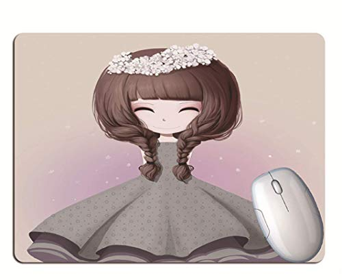 Gaming Mouse Pad, Exquisite Long-Haired Girl, Wearing Flowers On Head, Wear-Resistant Rubber, Computer Gaming Mouse Pad