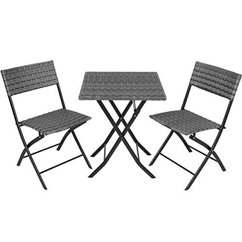 TecTake 800700 Polyrattan Bistroset Sitzgruppe 3-TLG. für Garten, Balkon, Terrasse, platzsparend klappbar, mit UV-Schutz – Diverse Farben - (Grau | Nr. 403197)