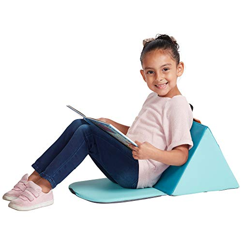 ECR4Kids SoftZone Carry Me Soft Seat with Storage Book Pocket and Handle - Portable Folding Seat/Reading Cushion for Kids and Toddlers, Seafoam/Turquoise