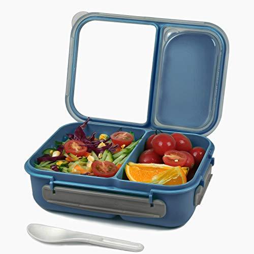 Shopwithgreen Bento - Fiambrera para niños y adultos, recipientes para preparar comidas a prueba de fugas con 2 compartimentos divisores y cuchara (azul)