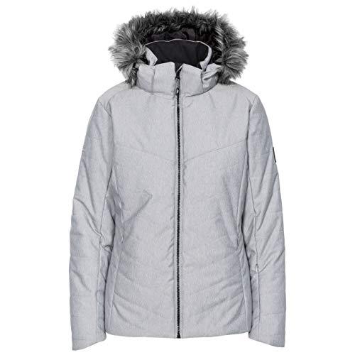 Trespass Wisdom Veste de ski chaude imperméable et coupe-vent pour femme avec capuche amovible zippée, fermetures éclair d'aération sous les bras et poche zippée XXL gris clair