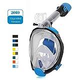 Unigear Masque de Plongée, Masque Snorkeling Plein Visage 180° Visible, Antibuée Anti-Fuite sous-Marine, 2019 Nouveau Version Snorkel Masque avec la Support pour Caméra de Sport (Noir-Bleu, L/XL)