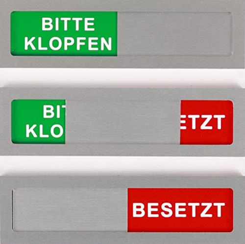 Bitte Klopfen-Besetzt Schild Modell S aus Aluminium - Mit Schieber - Schiebeschilder - Frei Besetztschild zum Kleben - 10 cm x 2,8 cm x 4 mm - Starke 3M Klebefläche - Besprechungsraumschild