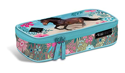 Theonoi Motiv Pferd - I Love Horses - Kinder Federmäppchen / Federmappe / Schlamperetui / Federtasche / Etui Geschenk zum Schulanfang Schultüte (Design P02)