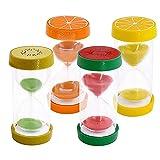 Ysislybin 4 relojes de arena 5/10/15/30 minutos, forma de fruta, resistente a caídas, temporizador para cocina, restaurantes, juegos, habitaciones infantiles.