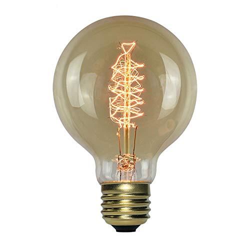 WZLOVE G80 Globe Style Vintage Edison Glühbirne, E27 Bajonett 40w Spiral Retro dekorative Filament Glühbirne, für Kaffee, Zuhause, Bars, Hotel, Restaurants