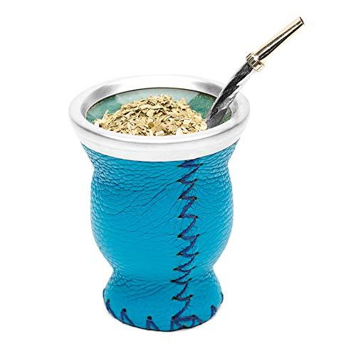 Balibetov [New] Leather & Glass Yerba Mate Gourd Set (Mate Cup) with Yerba Mate Bombilla (Straw) (Light Blue)