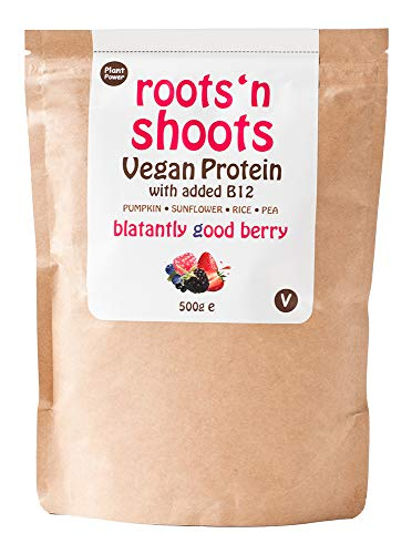 Roots 'n Shoots Vegan Protein Powder Shake with Added B12 500g (Berry) | 4 Premium Plant Proteins | Gluten Free | Sugar Free | All Natural Ingredients