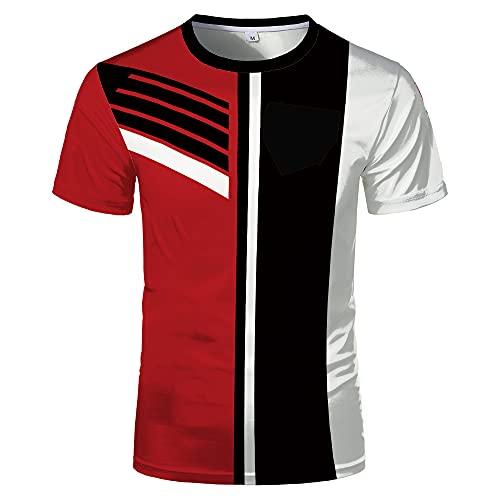 Camiseta Hombre Verano Cuello Redondo Manga Corta Shirt Hombre Chic Empalme Rayas Moda Top Hombre Trabajo Casual Deportiva Shirt Hombre Estilo Urbano Moderno Cómoda Camiseta Hombre