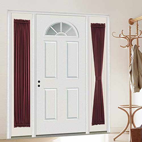 """Rose Home Fashion Blackout Door Curtain, Elegance French Door Curtains for Privacy, Thermal Insulated Door Curtain Panels, Room Darkening Door Window Curtain (25"""" x 72"""" 2pcs: Burgundy)"""