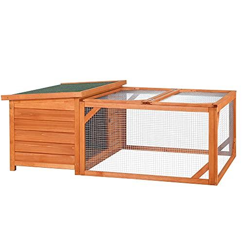 Pawhut Conigliera da Esterno e Interno in Legno con Casetta per Conigli e Area Aperta Recintata, 125.5x100x49cm, Arancione