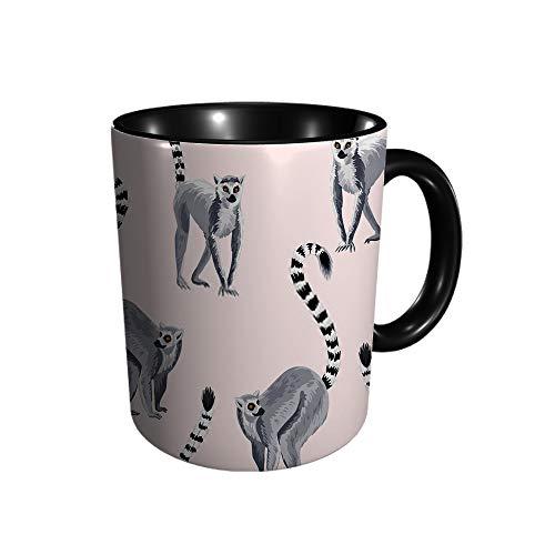 Lemur Wild Animal Exótico Papel pintado café té agua taza cerámica taza 330ml impresión completa