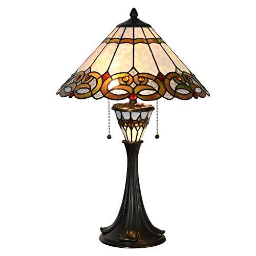 Lumilamp Lámpara de mesa Tiffany 5LL-5392 de poliresina y cristal multicolor
