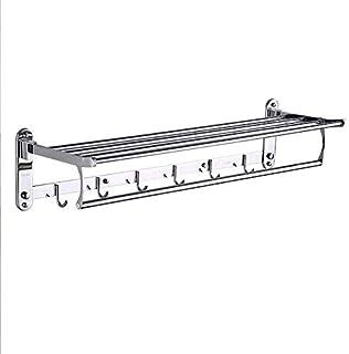 タオル掛け棚浴室の棚 フック付きマルチバー折り畳み式の壁掛けシャワーホルダーレールを備えたバスルーム18インチのステンレス鋼のタオル棚用タオルラック HP7-4 (Size : 60cm)